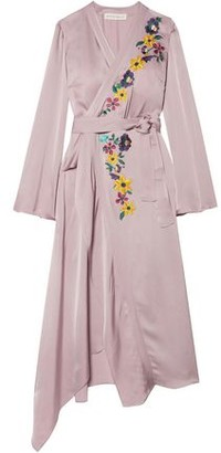Etro Wrap-effect Embroidered Satin Midi Dress