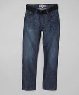 Monarchy Blue & Black Stitch Belted Jeans - Boys