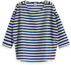 Scotch & Soda Stripe 3 4 Length Sleeve Top - xsmall - Blue/White