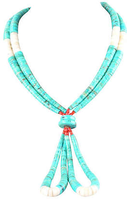 One Kings Lane Vintage Turquoise Necklace - Galleria d'Epoca - turquoise/white/red