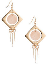 Expression Disc in Square Dangle Drop Earrings