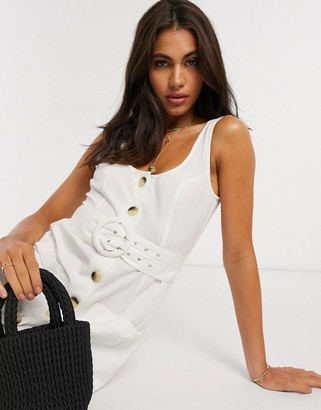 ASOS DESIGN button through linen mini sundress with self covered belt in white