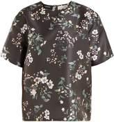Rochas Floral-print duchess-satin top