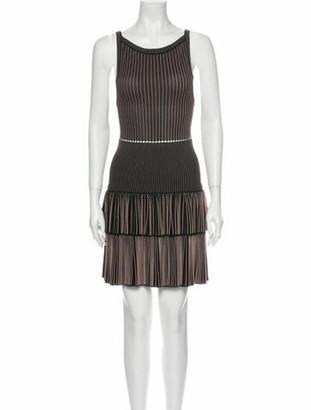 Alaia Striped Mini Dress Brown