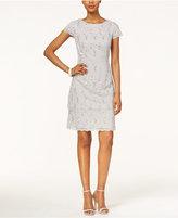 Alex Evenings Cap-Sleeve Sequined Lace Sheath Dress