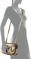 Oryany Monica Metallic Leather Crossbody, Platinum