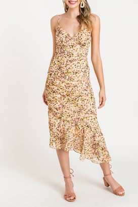 Lush Asymmetrical Hem Printed Midi Dress