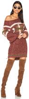 Free People Northern Lights Sweater Mini Dress in Burgundy