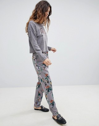 Soaked In Luxury Floral Suit PANTS-Gray