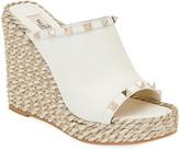 Valentino Rockstud Leather Wedge Espadrille Sandals