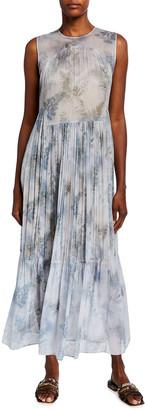 Vince Fern Botanical Shirred Silk Dress
