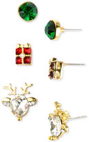 Charter Club Holiday Lane Gold-Tone 3-Pc. Set Holiday Theme Stud Earrings, Created for Macy's