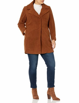 City Chic Women's Apparel Women's Plus Size Boucle Longline Coat with Concealed Buttons