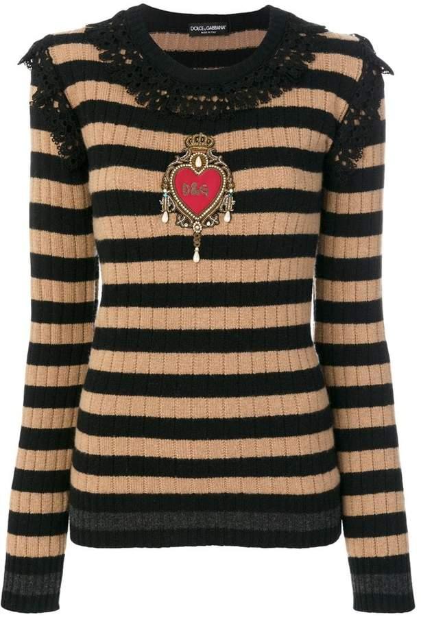 Dolce & Gabbana embellished lace trim pullover