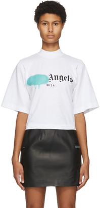 Palm Angels White Ibiza Sprayed Logo T-Shirt