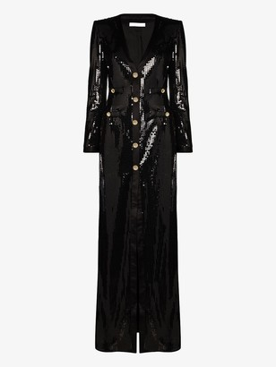 Alessandra Rich Sequin-Embellished Crystal-Button Gown