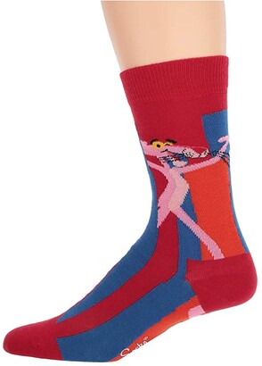 Happy Socks Pink Panther Smile Pretty, Say Pink Sock (Medium Red) Crew Cut Socks Shoes