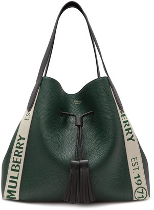 Mulberry Millie Tote Green Heavy Grain and Branded Webbing