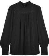 Isabel Marant Maeva Embroidered Silk-georgette Turtleneck Blouse - Black