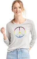 Gap Peace sign intarsia pullover sweater