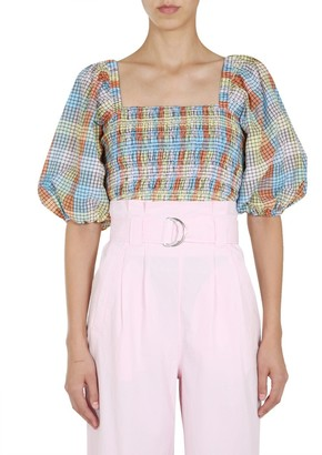 Ganni Seersucker Check Smock Top