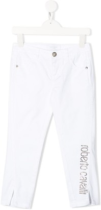 Roberto Cavalli Junior Slim-Fit Rhinestone Logo Jeans