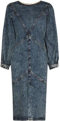Isabel Marant Acid-Effect Puff-Sleeve Dress