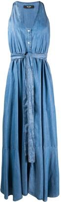 Twin-Set Waist-Tied Denim Midi Dress