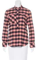 Derek Lam 10 Crosby Plaid Long Sleeve Top