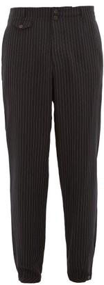 Rochas Pinstriped Wool Slim-leg Trousers - Mens - Navy