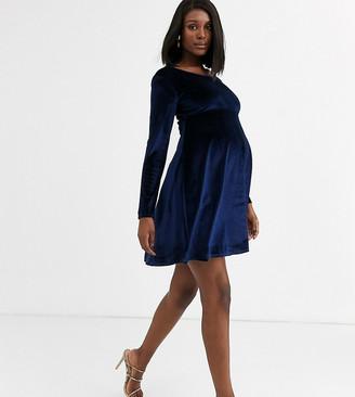 Blume Maternity exclusive velvet long sleeved stretch midi skater dress in navy
