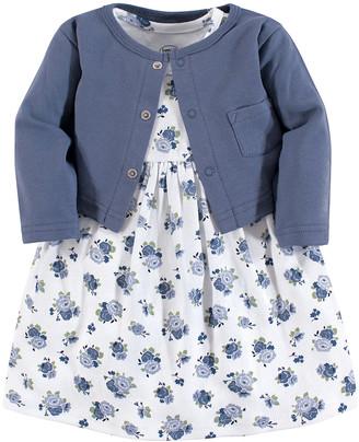 Luvable Friends Girls' Casual Dresses Blue - Blue Floral Dress & Cardigan - Newborn, Infant, Toddler & Girls