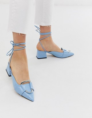 Asos Design DESIGN Subtract ring detail mid-heels in blue croc