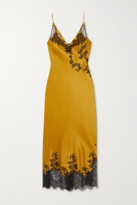 Carine Gilson Chantilly Lace-trimmed Silk-satin Nightdress - Saffron