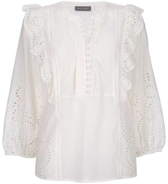 Mint Velvet Ivory Cotton Broderie Boho Top