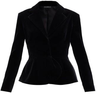 Vika Gazinskaya Peplum-hem Cotton-blend Velvet Jacket - Black