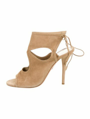 Aquazzura Sexy Thing Suede Ankle Strap Sandals Tan