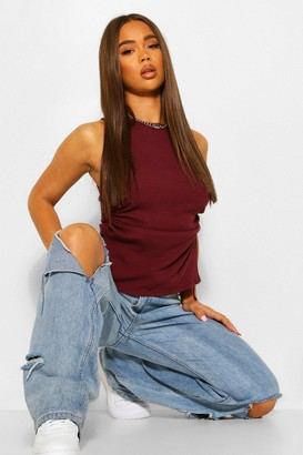 boohoo Ribbed Ruched Side Tunic Top