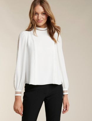 Forever New Aurora Petite Trim Detail Blouse - Porcelain - 14