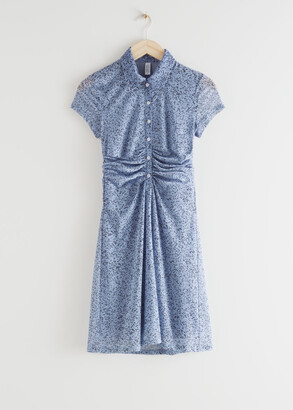 And other stories Buttoned Draped Waist Mini Dress
