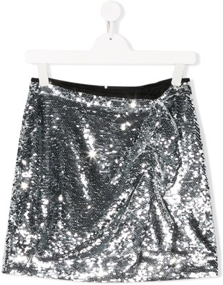 Pinko Kids Sequin Embroidered Side Ruffled Skirt