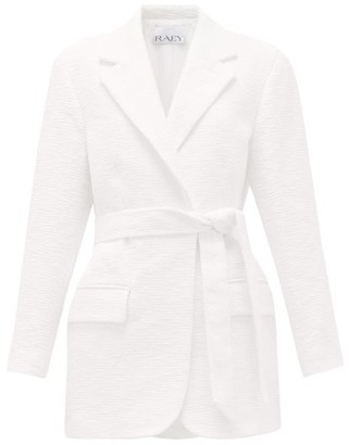 Raey Long-line Belted Cotton-blend Boucle Jacket - White