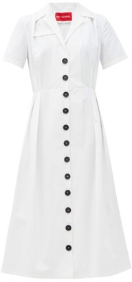 Art School Nurse Panelled Cotton-poplin Midi Dress - White