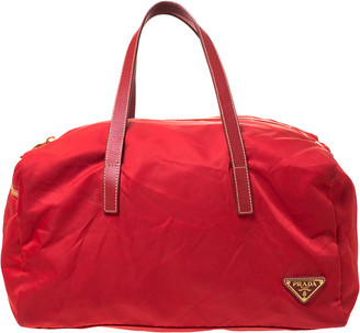 Prada Red Nylon and Leather Duffle Bag