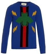 Gucci Bee And Lightning-intarsia Wool Sweater