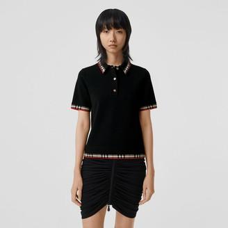 Burberry Check Trim Merino Wool Blend Polo Shirt