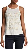 Chloe Oliver Salty Hair Don't Care Linen Tank, White