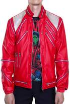 Mjb2c - Michael Jackson Costume - Beat it Metal Zipper Leather Jacket