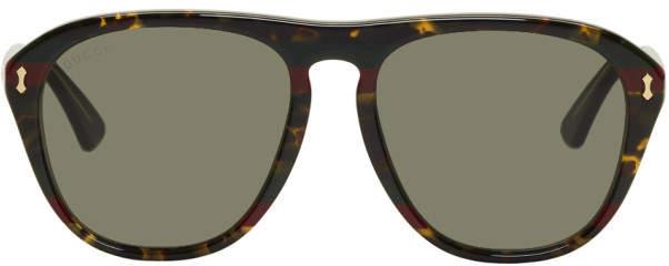 Gucci Tortoiseshell Opulent Luxury Web Aviator Sunglasses