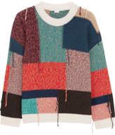 Stella McCartney Oversized Patchwork Wool Sweater - Orange